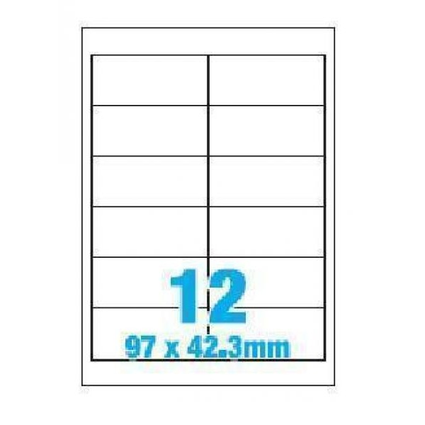 A4 Labels 12 Per Sheet. With print edge format. 97mm x 42.3 mm X12. Sheets in box - 100