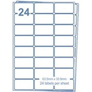 A4 Labels 24 Per Sheet. With print edge format. 63.5mm x 33.9mm X24. Sheets in box - 100