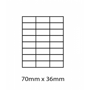 A4 Labels 24 Per Sheet. With print edge format. 70mm x 36mm X24. Sheets in box - 100