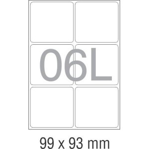 A4 Labels 6 Per Sheet. With print edge format. 99.1mm x 93.1mm X6. Sheets in box - 100