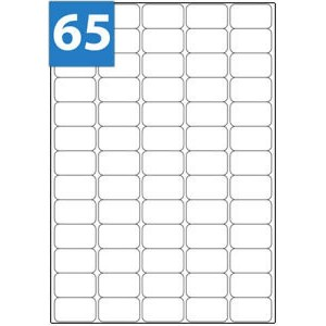 A4 Labels 65 Per Sheet. With print edge format. 38.1mm x 21.2mm X65. Sheets in box - 100