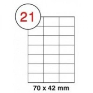 A4 Self Adhesive Sticker Sheets Labels. A4 Labels 21 Per Sheet. (70*42)*21. Sheets in box - 100
