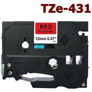 Dore analog Brother TZ-431 TZe-431 Label Maker Tape, 12mm x 8m, Black On Red