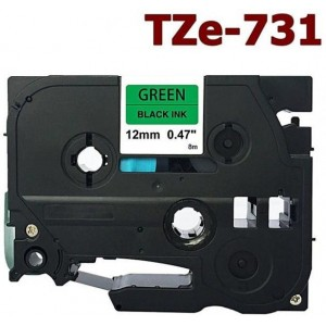 Dore analog Brother TZ-731/TZe-731 Label Maker Tape, 12mm x 8m, Black On Green