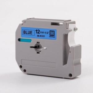 Dore analoog lint Brother M-K531BZ MK-531BZ MK531BZ M-K531 MK531 12mm x 8m Black on Blue
