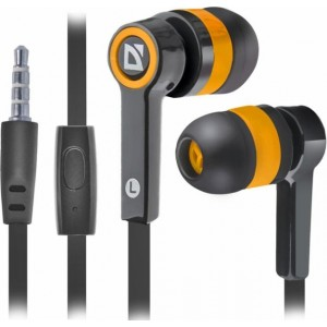 Гарнитура для смартфонов Defender Pulse 420 черный + желтый, вставки
