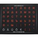 Klaviatuurikleebised mini HQ. Väikeste tähtede alus: must. Tähed: RUS-punane, EST-valge.