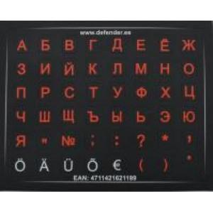 Labels for keyboard mini HQ. Color base black. Color of letters: RU- red, EST-white.