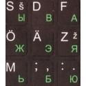 Klaviatuurikleebised HQ. Tähtede alus: must. Tähed: RUS-roheline, EST-valge.