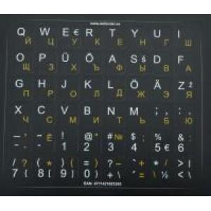 Наклейка на клавиатуру HQ. Подложка черная. Буквы: жёлтые-RU, белые-EST