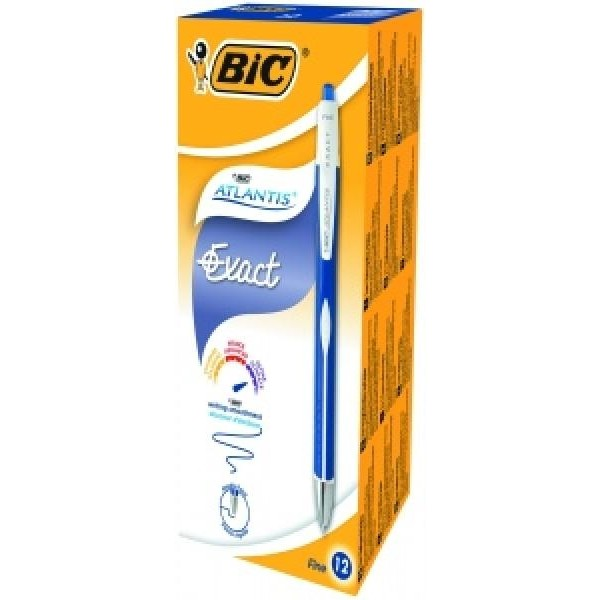 BIC pastapliiatsid ATLANTIS EXACT 0.3 mm blue, Pouch 12 pcs 340497